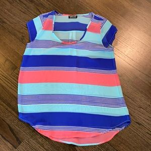 Papermoon for Stitch Fix Blue Pink Sheer Blouse M